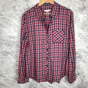 beachlunchlounge Red and Blue Plaid Flannel